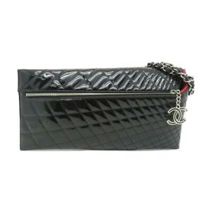 Auth Chanel CC Kaleidoscope Clutch Shoulder Bag Patent Leather Black 7443