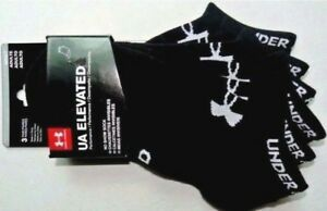 Under Armour Elevated Performance Men's No Show Socks 3 Pack Large Black New Tag $13.95