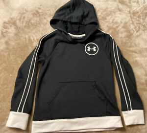 Boys Under Armour Black Loose Fit Hoodie Shirt YSM Youth Small $9.99