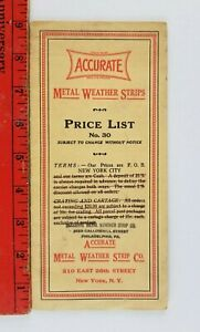 Vintage 1940#x27;s? Accurate Metal Weather Strips Price List 26th Street New York $16.49