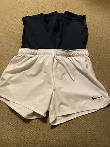 Womens Nike 2 In 1 White Blue Compression Running Shorts Small S $35.00