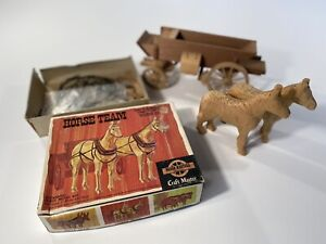 Vintage Craft Master Horse Team Old West Wooden Kit with Conestoga Coach Wagon $39.99
