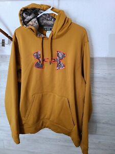Under Armour storm Hoodie Sweatshirt mens XL Camo hunting real tree cold gear $8.10