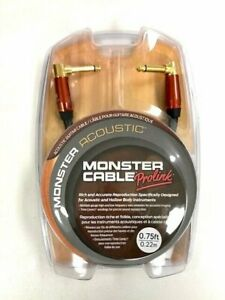 Monster Prolink Acoustic Guitar Cable Dual Angled 0.75 ft New $24.99