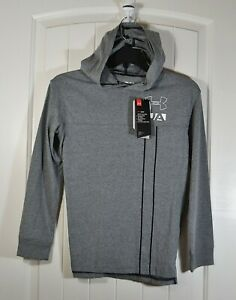 NWT BOYS YOUTH KIDS UNDER ARMOUR HOODED ATHLETIC LIGHT GRAY JACKET SZ M $25.50