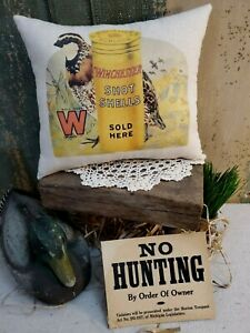 VINTAGE STYLE CABIN WINCHESTER HUNTING BULLET SHOT GUN ADVERTISING BIRD PILLOW