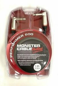 New Monster Prolink Performer 600 Instrument Cable 1 4quot; 1.5 FT Dual Angled $18.99