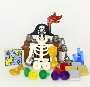 Lego NEW Treasure Chest With Gems Jewels And Skeleton Pirate Captain More