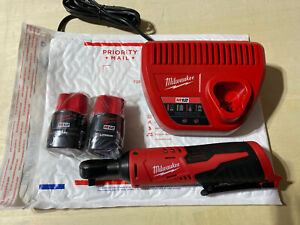 Milwaukee 2457 20 M12 3 8quot;Cordless Ratchet Two 2.0 Batteries amp; Charger
