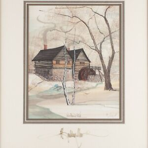 Woodland Mill of Log amp; Stone Double Signed amp; Framed Print by P. Buckley Moss $275.00