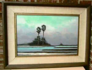 Henry Parker Oil On Canvas Seascape Painting Signed and Framed Florida Artist $350.00