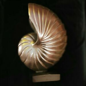 WOOD CONTEMPORARY SCULPTURE OF THE SHELL WITH BASE $169.00