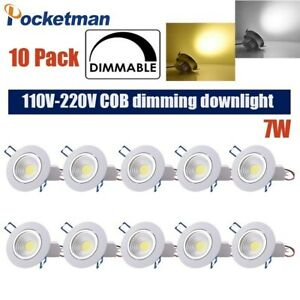 10 Pack 5w 7W COB Dimmable Downlight LED Recessed Ceiling Light Spotlight Driver