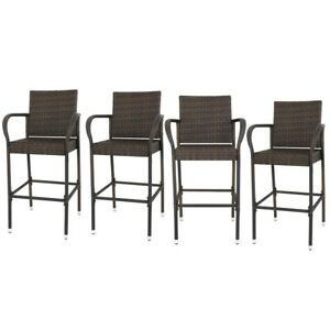 4PCS Bar Stool Wicker Barstool Furniture All Weather Indoor Outdoor Patio Brown