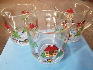 Vintage Luminarc Christmas Glass Clear Mug Set 3