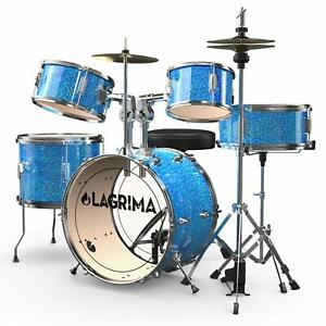 16quot;5 Pieces Complete Drum Set w Throne Cymbal Pedal amp; Drumsticks Kids Junior $203.99