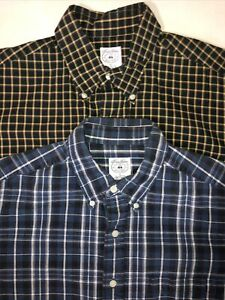 BROOKS BROTHERS SPORT SHIRT Mens Large Navy Blue White Plaid Button Down Shirt $19.98