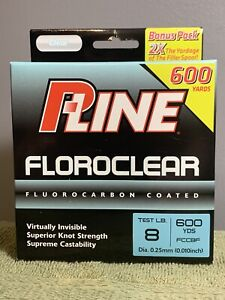 P Line Clear Floroclear Fluorocarbon Fishing 8lb 600 yd FREE SHIPPING