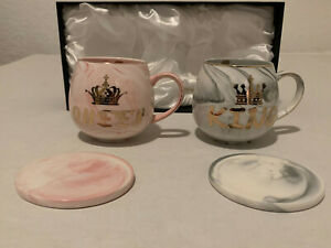 Lucky Cherry King and Queen Mug Set Gift for Couple Wedding Anniversary