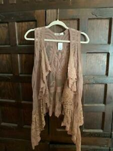 NWT Origami by Vivien Mocha Brown Ruffles and Lace Vest Boho Sz S M So CUTE