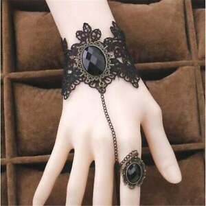 Creative Black Lace Bracelet Finger Ring Hand Chain Goth Halloween FREE SHIPPING $9.34