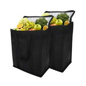 2 Set Big Insulated Cooler Bag Reusable Grocery Shopping Bag with Zipper Closure