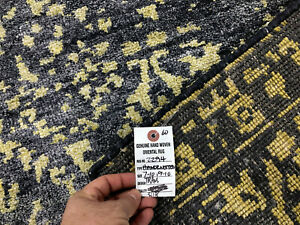 8x10 SILK RUG MODERN HAND KNOTTED CONTEMPORARY BLUE GRAY GOLD ABSTRACT handmade $899.00