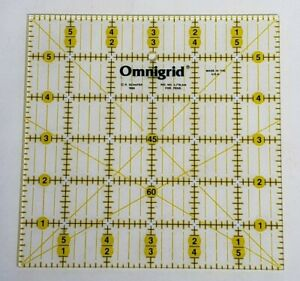 Omnigrid 6quot; x 6quot; square quilting ruler Yellow marked lines 6x6 $9.95