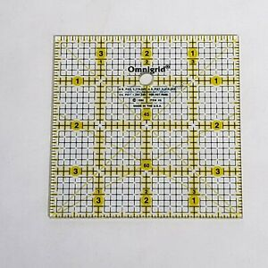 Omnigrid 4quot; x 4quot; square quilting ruler Yellow marked lines 4x4 $8.95