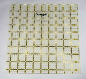 Omnigrid 9.5quot; x 9.5quot; square quilting ruler Yellow marked lines 9.5x9.5 $13.95