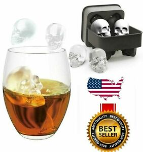 Silicone 3D Skull ICE Cube Tray Maker Round Ball Sphere Mold Whiskey Cocktail US