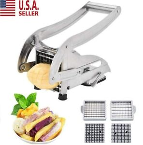 Stainless Steel French Fry Cutter Vegetable Potato Slicer Dicer Chopper 2 Blades