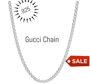 REAL Italian Sterling Silver Gucci Link Chain Necklace $7.99