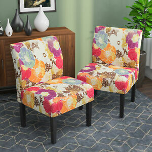 2PCS Armless Accent Chair Upholstered Tufted Sofa Floral Printed Wood Leg Floral