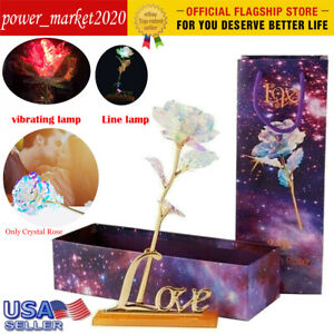 24K Gold Foil Rose Flower LED Luminous Galaxy Mother#x27;s Day Valentine#x27;s Day Gift $5.57