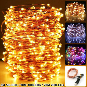 Christmas USB 50 200 LEDs Copper Wire String Light Indoor Outdoor Fairy Light US