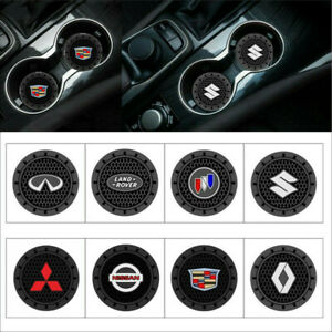 2Pcs Car Logo Cup Holder Silicone Coaster for Cars Non slip mats Insert Coaster