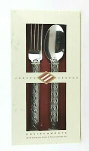 Joseph Abboud Environments Cable Stitch Sisal Stainless Steel Piece Serving Set