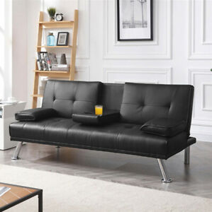 SOFA BED SLEEPER Modern Black PU Leather Futon Convertible Couch Cup Holder