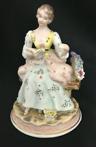 Vintage ORION Porcelain Bisque VICTORIAN LADY READING BOOK Figurine 6quot; TALL $29.95