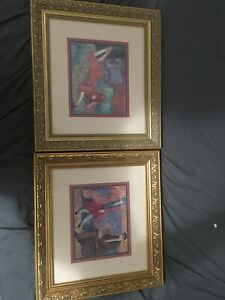 Lot Of 2 Barbara A. Wood Hand Signed amp; Numbered Lithographs Framed And Matted $500.00