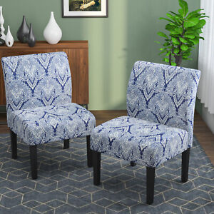 2 PCS Elegant Armless Accent Chair Upholstered Tufted Sofa w Wood Legs Sapphire