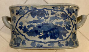 Large Chinese Blue White Crackle Chinoiserie Foot Bath Planter with Handles