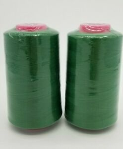 2 Pack Kelly Green 6000 Yards Per Spool Serger Sewing Machine Thread Cones T27 $10.99