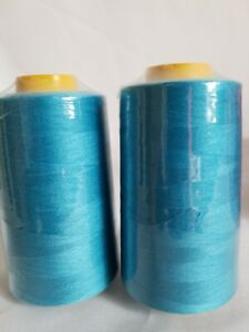 6000 Yards Per Cone Turquoise Sewing Machine Thread Lot Of 2 Spools Sealed Cones $10.99