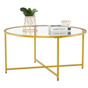 Modern Side Coffee Tea Table 6mm Tempered Glass Top Living Room Furniture Round