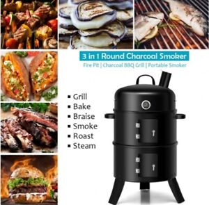 Charcoal Smoker Grill 3 in 1 BBQ Portable Iron Fire Pit Thermometer Vertical