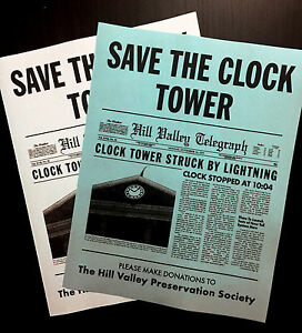Back To The Future Save The Clock Tower Flier Set Prop Replica CLEARANCE ITEM💥