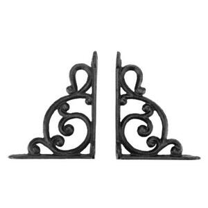 2 X Antique Look Cast Iron Fancy Shelf Brackets Hange Cost Effective $8.65