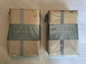 2 Barbara Barry Cloud Nine Queen Pillow Shams Color Powder Tan NIP